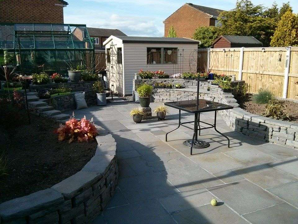Slate patio and planters