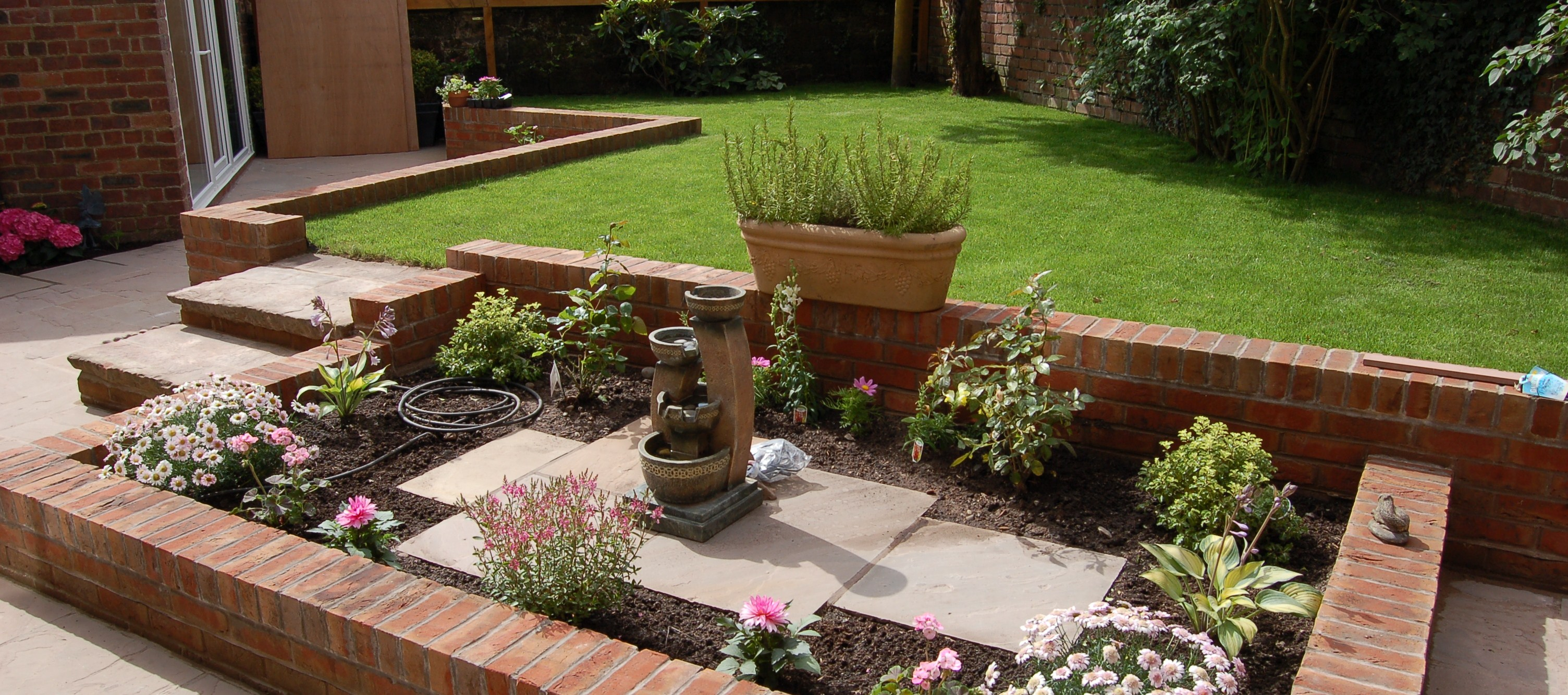 garden with rustic bricks