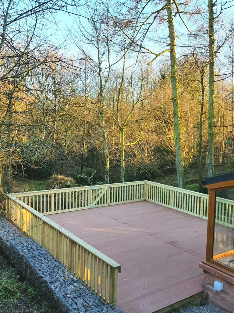 composite deck and gabion wall Welton Cumbria
