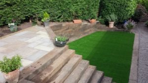 artificial lawn and patio