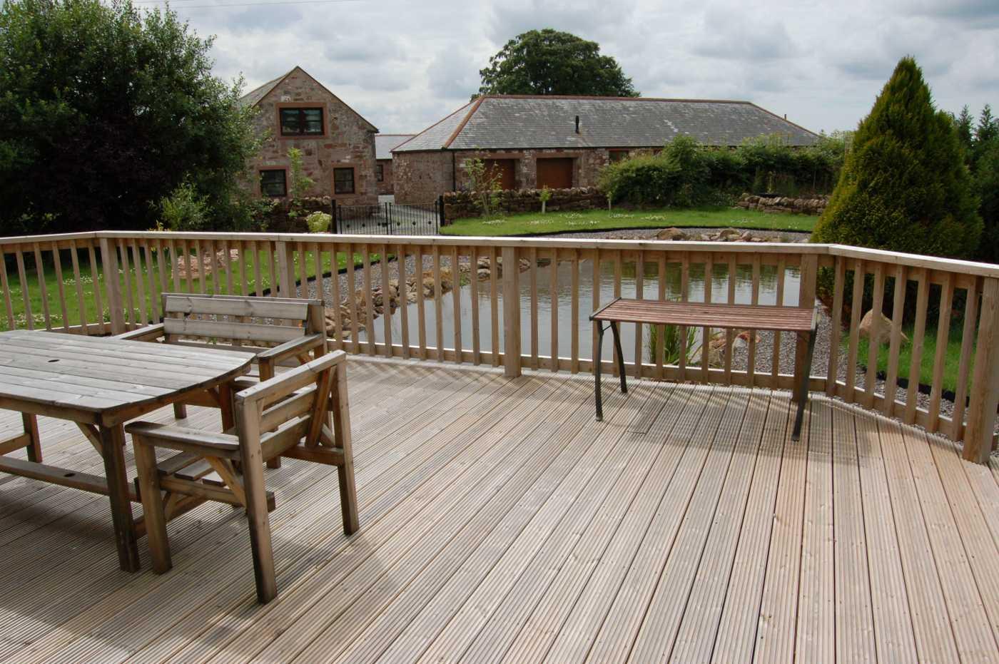 Wooden deck over Pond Dumfriesshire