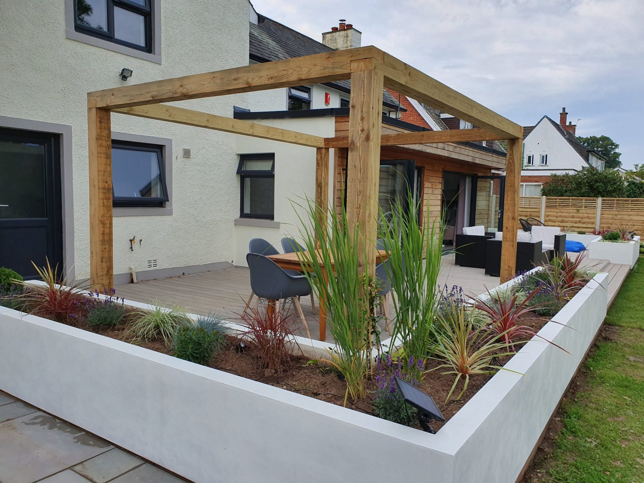 a pergola and raised planters in Dalston Cumbria
