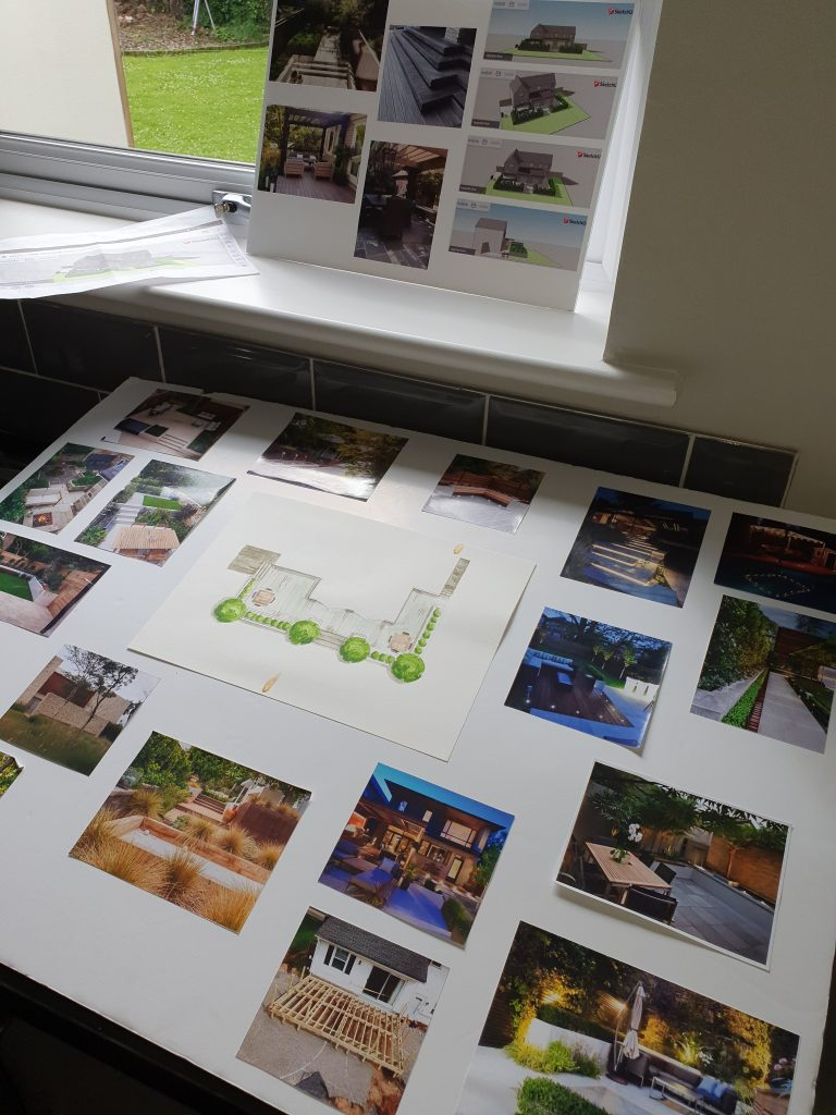 garden design mood board on site