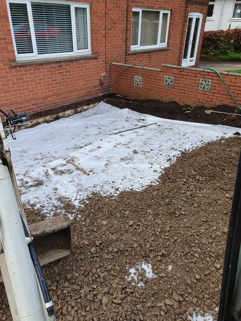 Geotextile and subbase backfill