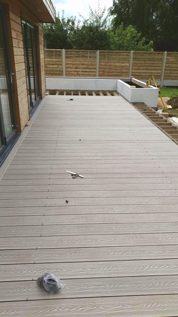 Bi fold doors on partially complete partially complete decking Carlisle