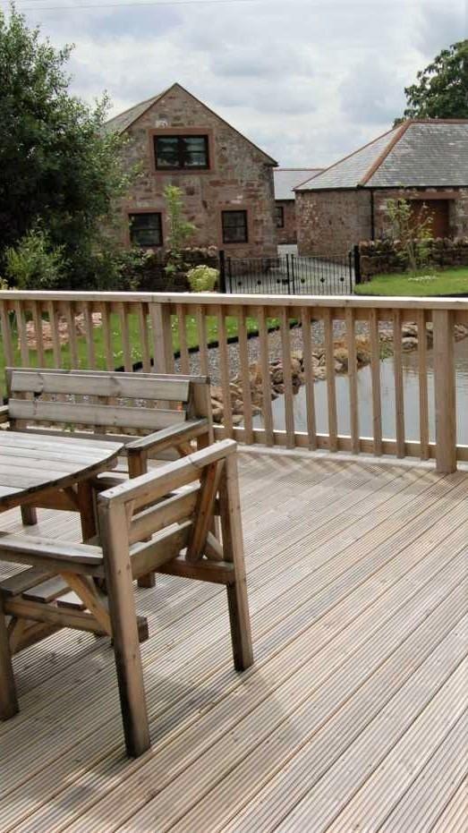 free standing deck over pond near Lockerbie