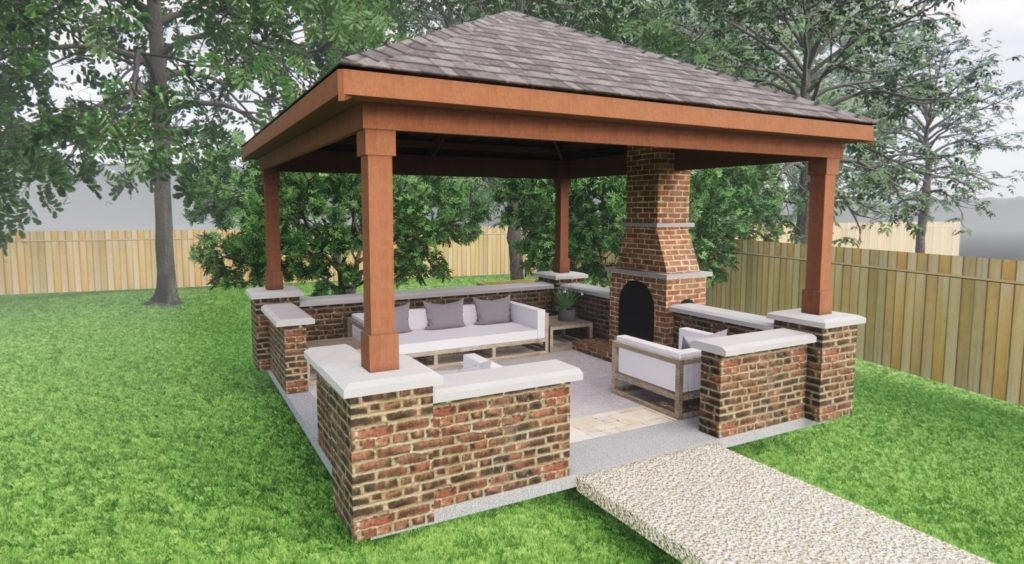 a brick gazebo with outside fireplace