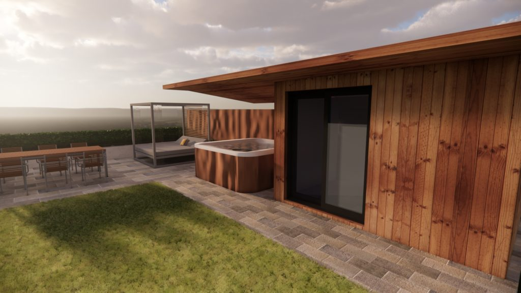 Garden office and hot tub canopy