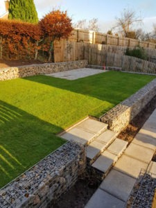 Gabion Terraces retaining wall in this Wetheral Garden