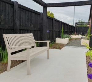 porcelain patio and planters in Carlisle garden