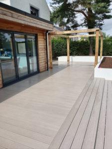 composite deck with pergola in Dalston