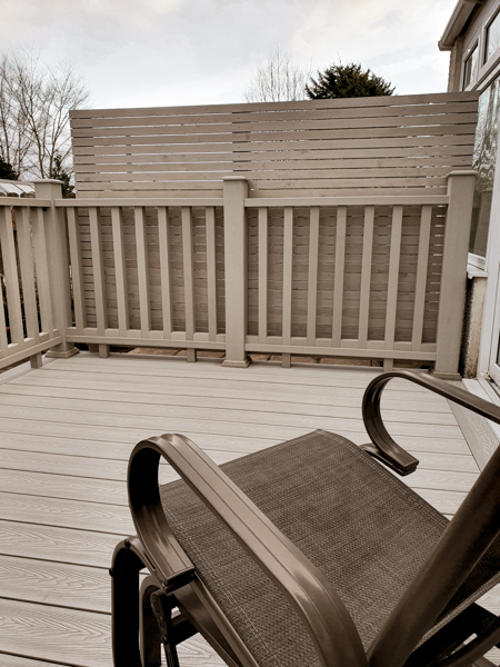 composite deck with rocking chair